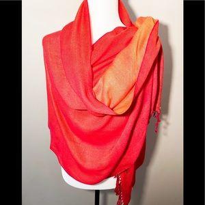 Pashmina orange two tone scarf 🧣